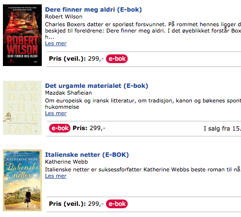 Prisene på norske e-bøker er høye