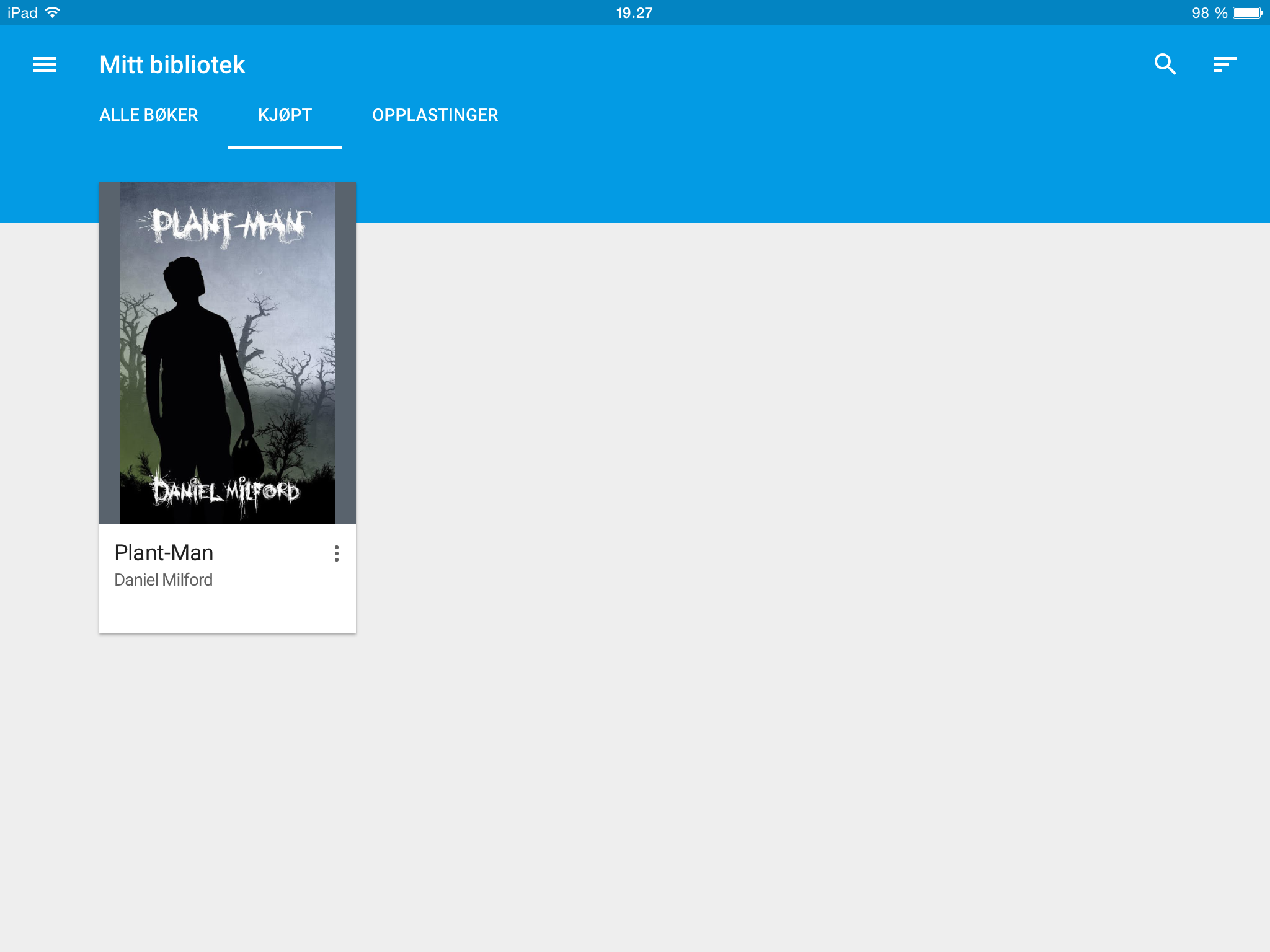 Bokhylle i Google Play Boker på iPad