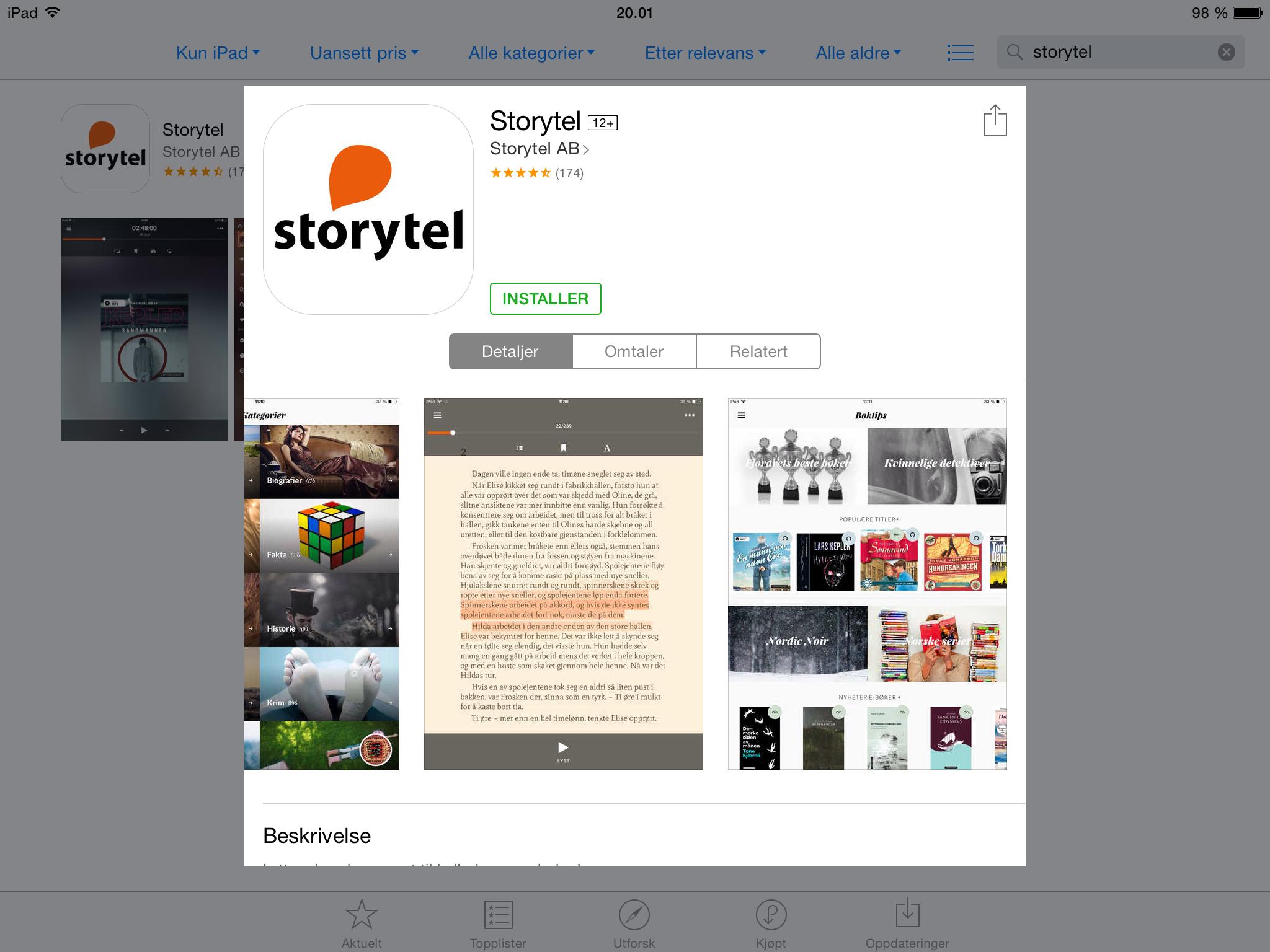 Installere Storytel på iPad