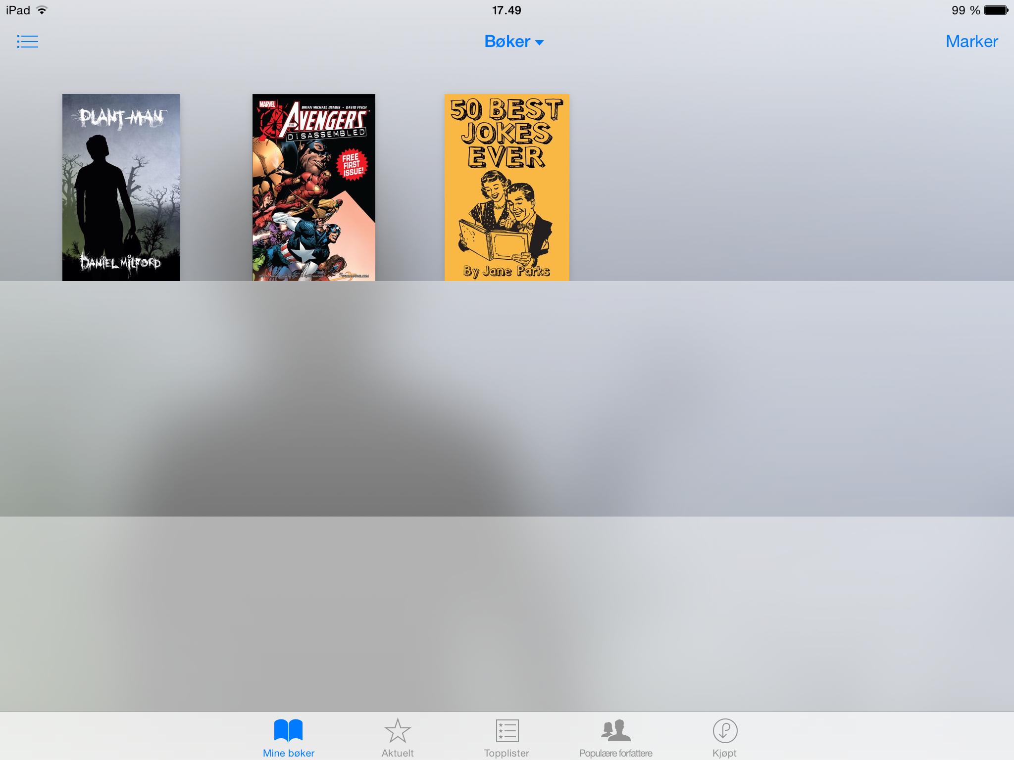 Bokhylle i iBooks på en iPad